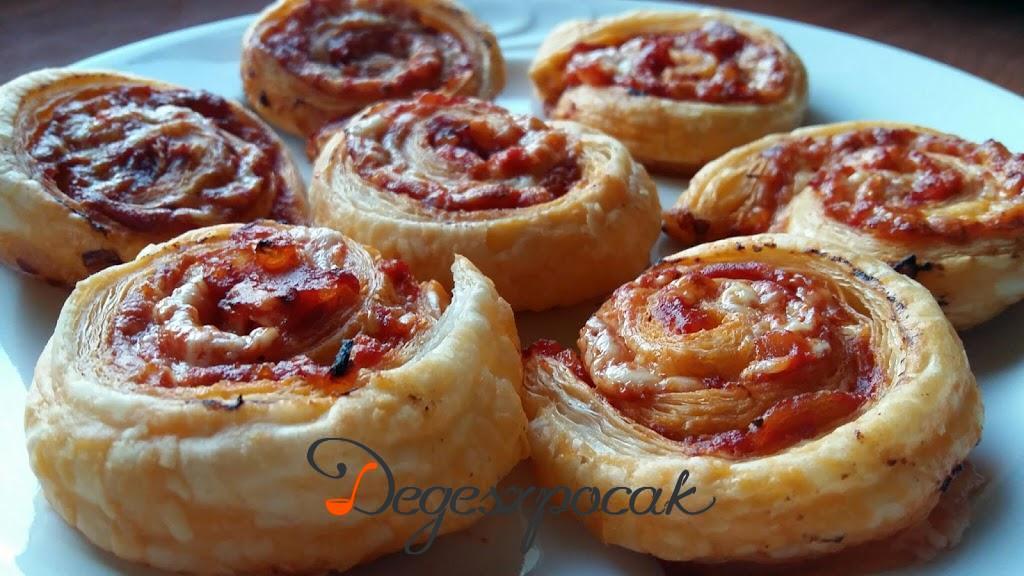 Pizzás csiga leveles tésztából